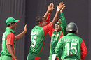 Enamul Haque Jnr celebrates after sending back Forster Mutizwa, Bangladesh v Zimbabwe, 3rd ODI, Mirpur, October 31, 2009