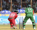 Chamu Chibhabha is bowled for a duck
