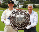 Wellington captain Matthew Bell and Glenn Turner pose with the Plunket Shield, Wellington, November 4, 2009