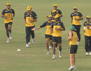 The Bangladesh team warm up