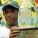 Rashid Latif with the trophy, Pakistan v Bangladesh, 3rd Test, Multan, September 5, 2003.