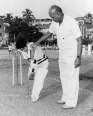 Sachin Tendulkar with his coach Ramakant Achrekar in the  mid-1980s