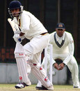 Punjab's Vishwas Bhalla watches the ball closely, Punjab v Hyderabad, Ranji Trophy Super League, 2nd round, Mohali, 3rd day, November 12, 2009