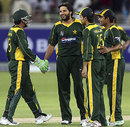 Shahid Afridi celebrates one of his two wickets, New Zealand v Pakistan, 1st Twenty20 International, Dubai, November 12, 2009