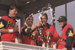 Zimbabwe players celebrate their big win over England, Zimbabwe v England, third ODI, Harare, January 3, 1997