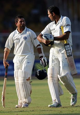 Sachin Tendulkar and VVS Laxman stroll back after saving the Test, India v Sri Lanka, 1st Test, Ahmedabad, 5th day, November 20, 2009