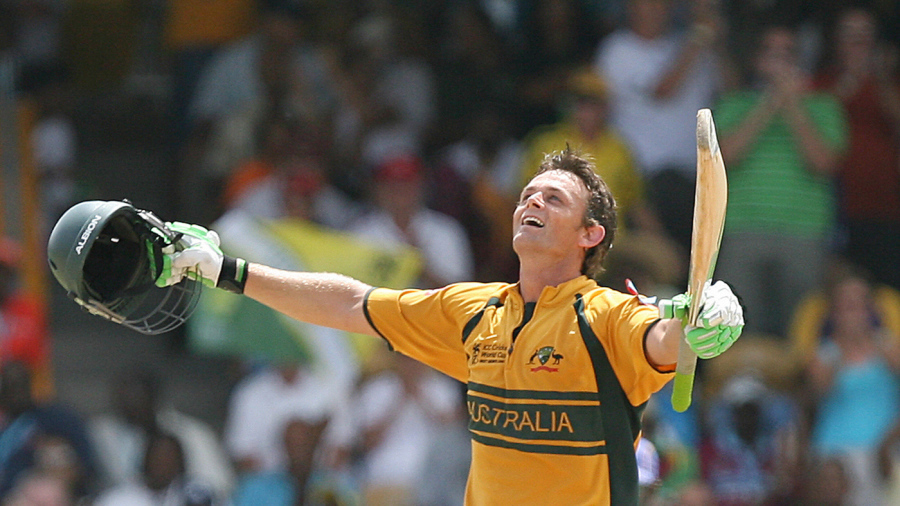 Adam Gilchrist celebrates smacking a 72-ball hundred