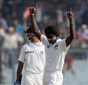 Ajantha Mendis celebrates Sachin Tendulkar's wicket, India v Sri  Lanka, 2nd Test, Kanpur, 2nd day, November 25, 2009