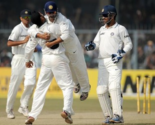 Harbhajan Singh and Gautam Gambhir celebrate, India v Sri Lanka, 2nd Test, Kanpur, 4th day, November 27, 2009