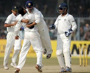 Harbhajan Singh and Gautam Gambhir celebrate, India v Sri Lanka, 2nd Test, Kanpur, 4th day, November 27, 2009