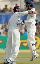 Yuvraj Singh and MS Dhoni celebrate the dismissal of Ajantha Mendis
