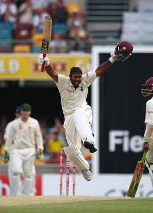 Adrian Barath jumps for joy on reaching a century on debut, Australia v West Indies, 1st Test, Brisbane, 3rd day, November 28, 2009