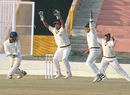 Ajay Mannu is trapped leg before by Manpreet Gony, Punjab v Himachal Pradesh, Ranji Trophy Super League, Group A, Mohali, 2nd day, December 2, 2009