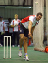 Tim Bresnan bowls in the indoor nets ahead of the fifth and final ODI against South Africa