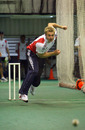 Luke Wright bowls in the indoor nets ahead of the fifth and final ODI against South Africa, Durban, December 3, 2009