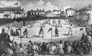 A cricket match at Lord's in London, during which overarm bowling was tested against the accepted underarm method, July 1842