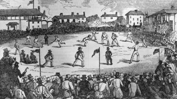 A cricket match in London during which overarm bowling was tested against the accepted underarm method