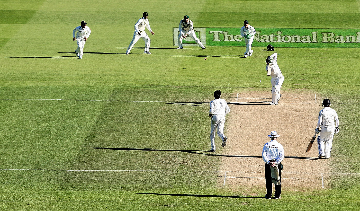 In the second innings in Wellington in 2009, Martin Guptill inside-edged a full delivery from Mohammad Asif onto his stumps