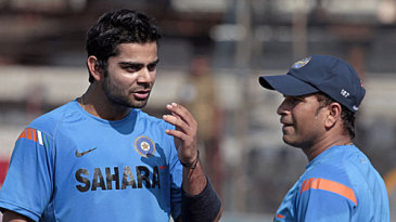 Virat Kohli has a chat with Sachin Tendulkar