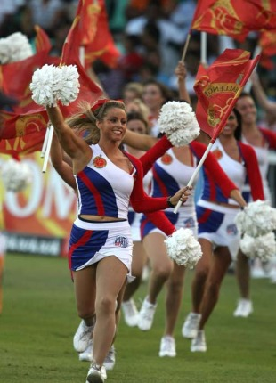Cheerleaders perform at the Royal Challengers Bangalore v Kings XI Punjab match, Durban, May 1, 2009