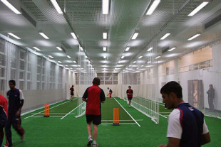 Members of the Hong Kong Under-19 cricket team practice at HKCC's new Cricket Centre of Excellence prior to their departure to New Zealand to compete at the ICC Under-19 Cricket World Cup 2010