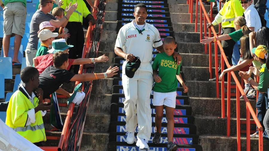 Makhaya Ntini's son joins him as he leads South Africa out onto the field for his 100th cap