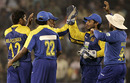 Chanaka Welegedara gets the high-fives after removing Virender Sehwag, India v Sri Lanka, 3rd ODI, Cuttack, December 21, 2009