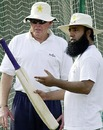 Barry Richards and Saeed Anwar at the nets, Lahore, July 7, 2004
