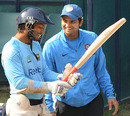 Kumar Sangakkara and Suresh Raina share a laugh