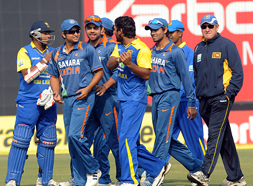 Kumar Sangakkara was forced to lead his players off
