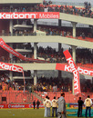 Irate fans tear down advertising banners at the Feroz Shah Kotla after the match was abandoned, India v Sri Lanka, 5th ODI, December 27, 2009