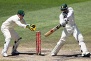 Misbah-ul-Haq cuts during his 65 not out