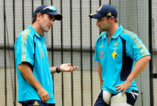 Justin Langer and Phillip Hughes at training, Melbourne, December 23, 2009