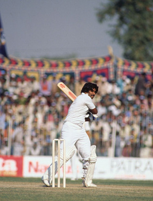 Javed Miandad on his way to 50, Pakistan v West Indies, 2nd Test, Faisalabad, 2nd day, December 9, 1980