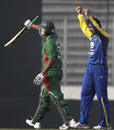 Tillakaratne Dilshan celebrates the dismissal of Tamim Iqbal