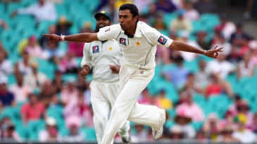 Danish Kaneria celebrates one of his four wickets
