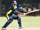 Udeshika Prabodhani cuts during her 53 off 35 balls for Colts Cricket Club Women.