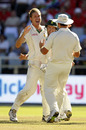Paul Harris celebrates the vital wicket of Andrew Strauss on the fourth afternoon at Newlands