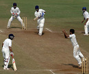 Iqbal Abdulla latches on to a return catch from Aditya Jain, Mumbai v Delhi, Ranji Trophy Super League 2009-10, 1st semi-final, Mumbai, 4th day, January 6, 2010