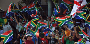 South African fans show their support on the fifth day at Newlands, South Africa v England, 3rd Test, Cape Town, January 7, 2010