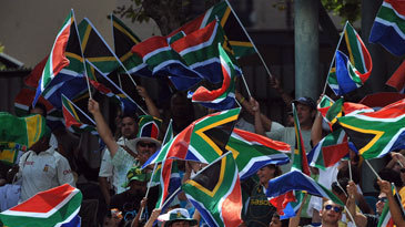 South African fans show their support on the fifth day at Newlands