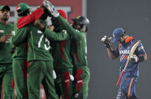 Virat Kohli succumbs nine short of his hundred, Bangladesh v India, Tri-series, 3rd ODI, Mirpur, January 7, 2010