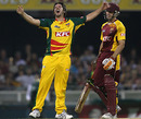 Brett Geeves celebrates his hat-trick, Queensland v Tasmania, Twenty20 Big Bash, Brisbane, January 8, 2010