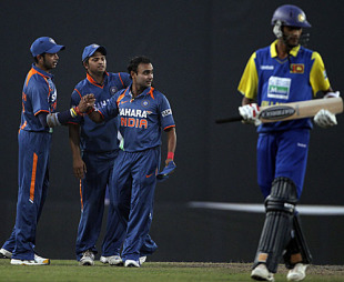 Amit Mishra is congratulated for dismissing Suraj Randiv, India v Sri Lanka, Tri-series, 5th ODI, Mirpur, January 10, 2010