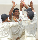 Aavishkar Salvi celebrates with the Mumbai team, Karnataka v Mumbai, Ranji Trophy final, Mysore, 2nd day, January 12, 2010