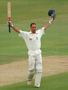 Nasser Hussain celebrates after reaching his double-century, England v Australia, 1st Test, Edgbaston, 2nd day, June 6, 1997