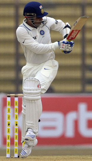 Virender Sehwag flicks during his fifty, Bangladesh v India, 1st Test, Chittagong, 1st day, January 17, 2010