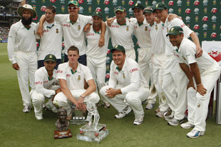 South Africa pose with their trophies after retaining the the Basil D'Oliveira, South Africa v England, Johannesburg, 17 January, 2010