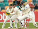 Khurram Manzoor cuts hard on the way to his half-century, 3rd Test, Australia v Pakistan, 5th day, Hobart, January 18, 2010