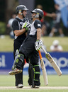 Tom Latham and Craig Cachopa celebrate victory, New Zealand Under-19s v Zimbabwe Under-19s, 19th Match, Group C, ICC Under-19 World Cup, Lincoln, January 19, 2010